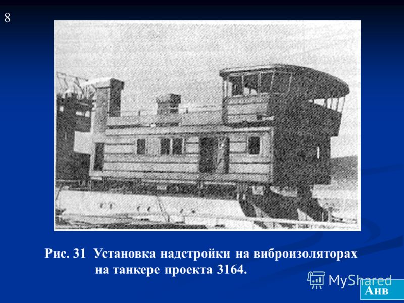 Рис. 31 Установка надстройки на виброизоляторах на танкере проекта 3164. 8 Анв
