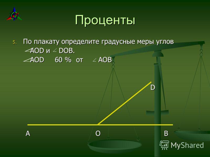 Проценты 5. По плакату определите градусные меры углов AOD и DOB. AOD и DOB. AOD 60 % от АОВ AOD 60 % от АОВ D A O B A O B