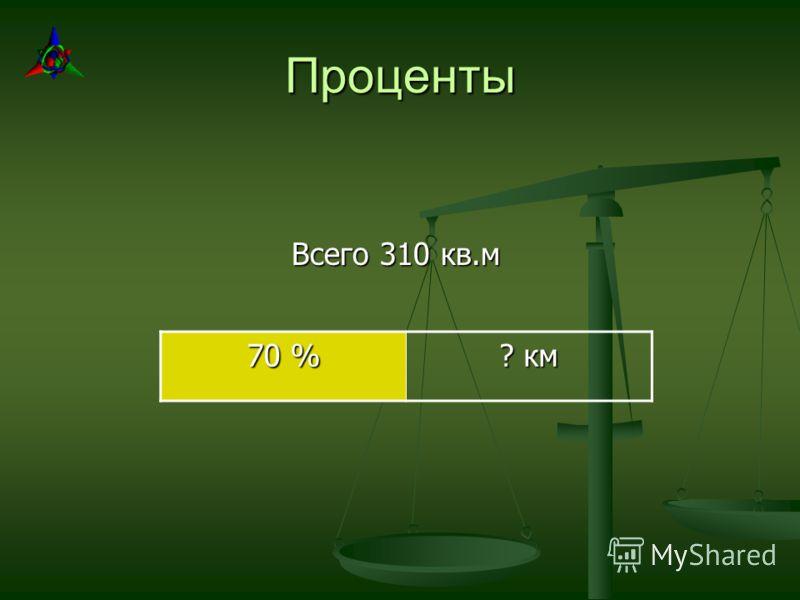 Проценты Всего 310 кв.м 70 % ? км