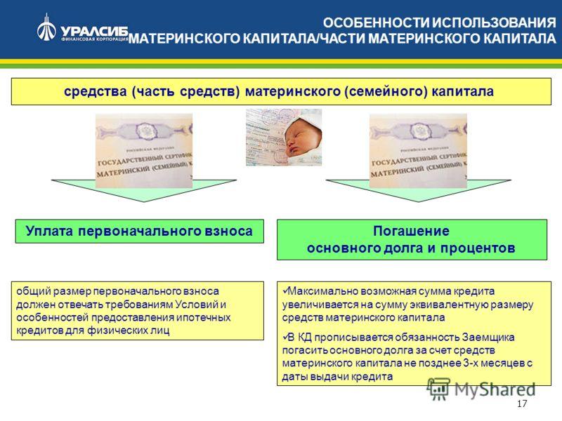 17 Уплата первоначального взноса ОСОБЕННОСТИ ИСПОЛЬЗОВАНИЯ МАТЕРИНСКОГО КАПИТАЛА/ЧАСТИ МАТЕРИНСКОГО КАПИТАЛА средства (часть средств) материнского (семейного) капитала Максимально возможная сумма кредита увеличивается на сумму эквивалентную размеру с