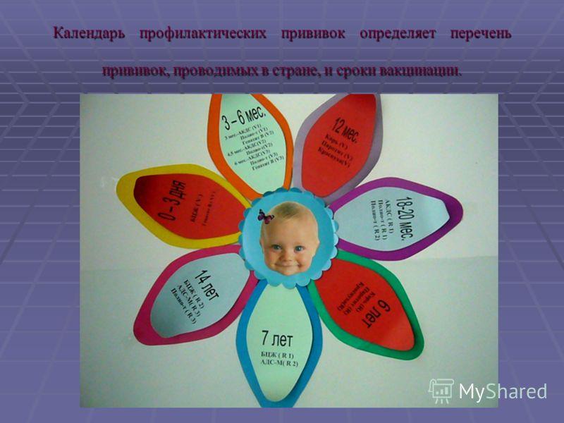 Календарь профилактических прививок определяет перечень прививок, проводимых в стране, и сроки вакцинации.