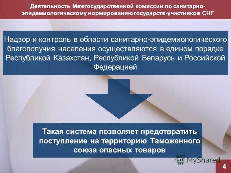 Деятельность Межгосударственной комиссии по санитарно- эпидемиологическому нормированию государств-участников СНГ 4 Надзор и контроль в области санитарно-эпидемиологического благополучия населения осуществляются в едином порядке Республикой Казахстан