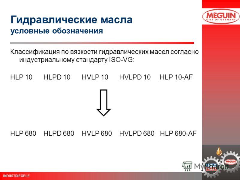 Schulung Öle 12. Juni 2003 Seite 6 INDUSTRIEOELE Классификация по вязкости гидравлических масел согласно индустриальному стандарту ISO-VG: HLP 10 HLPD 10 HVLP 10 HVLPD 10 HLP 10-AF Гидравлические масла условные обозначения HLP 680 HLPD 680 HVLP 680 H