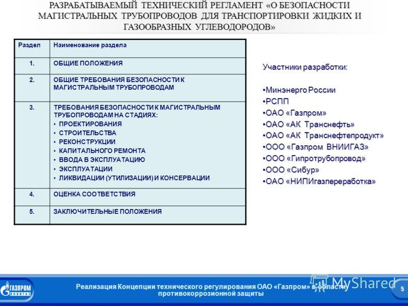 5 Реализация Концепции технического регулирования ОАО «Газпром» в области противокоррозионной защиты 5 РАЗРАБАТЫВАЕМЫЙ ТЕХНИЧЕСКИЙ РЕГЛАМЕНТ «О БЕЗОПАСНОСТИ МАГИСТРАЛЬНЫХ ТРУБОПРОВОДОВ ДЛЯ ТРАНСПОРТИРОВКИ ЖИДКИХ И ГАЗООБРАЗНЫХ УГЛЕВОДОРОДОВ» РазделНа