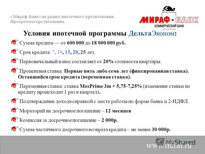 «Мираф-Банк» на рынке ипотечного кредитования. Программы кредитования. www.miraf.ru Сумма кредита от 600 000 до 18 000 000 руб. Срок кредита: 7, 10, 15, 20, 25 лет. Первоначальный взнос составляет от 20% стоимости квартиры. Процентная ставка: Первые