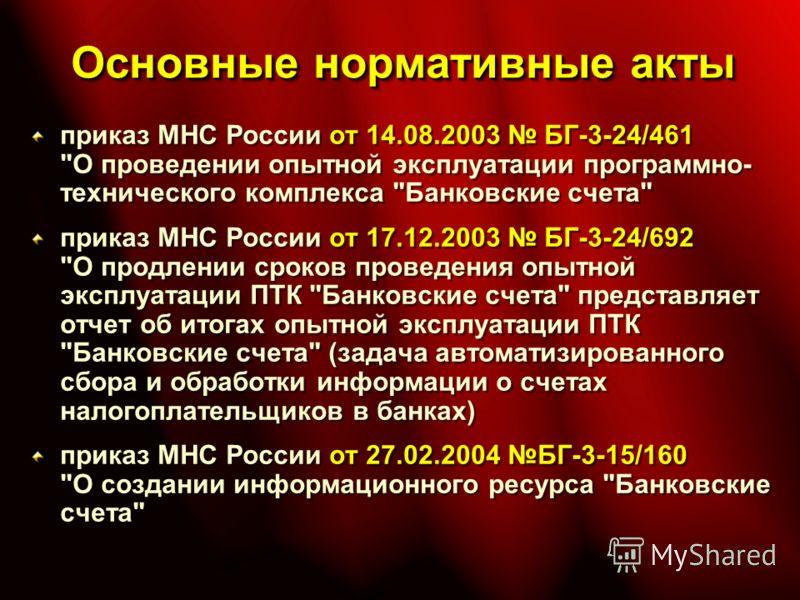 Основные нормативные акты приказ МНС России от 14.08.2003 БГ-3-24/461