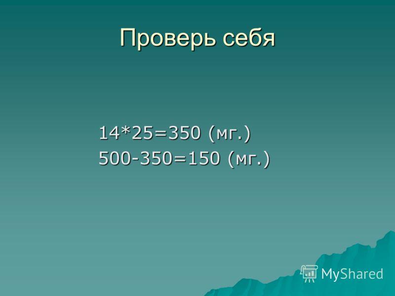 Проверь себя 14*25=350 (мг.) 14*25=350 (мг.) 500-350=150 (мг.) 500-350=150 (мг.)