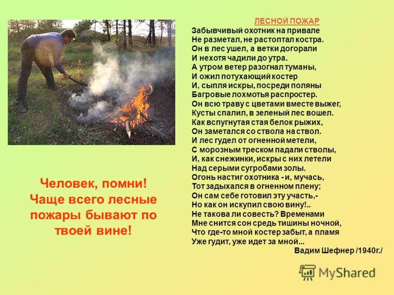 Человек, помни! Чаще всего лесные пожары бывают по твоей вине! ЛЕСНОЙ ПОЖАР Забывчивый охотник на привале Не разметал, не растоптал костра. Он в лес ушел, а ветки догорали И нехотя чадили до утра. А утром ветер разогнал туманы, И ожил потухающий кост