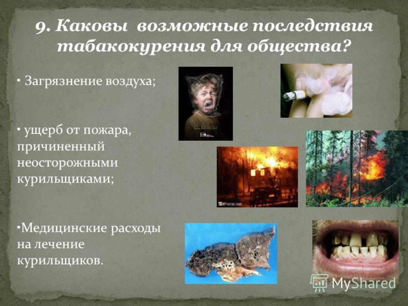 9. Каковы возможные последствия табакокурения для общества? Загрязнение воздуха; ущерб от пожара, причиненный неосторожными курильщиками; Медицинские расходы на лечение курильщиков.