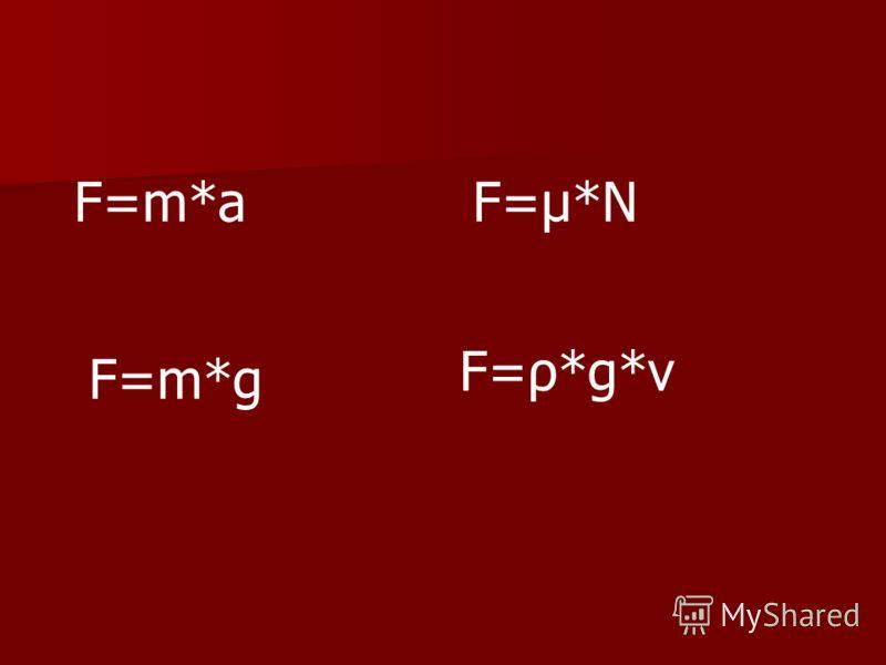 F=m*aF=μ*N F=m*g F=ρ*g*v