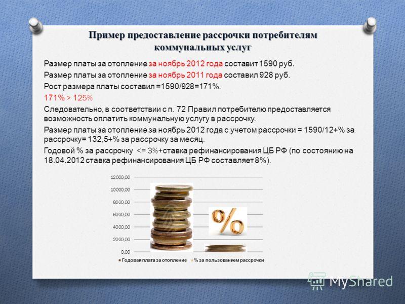 Пример предоставление рассрочки потребителям коммунальных услуг Размер платы за отопление за ноябрь 2012 года составит 1590 руб. Размер платы за отопление за ноябрь 2011 года составил 928 руб. Рост размера платы составил =1590/928=171%. 171% > 125% С