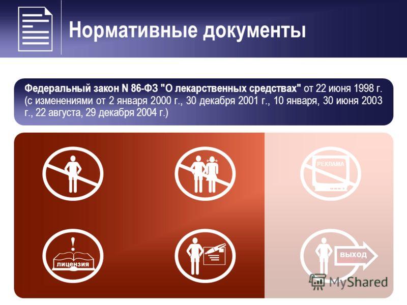 Нормативные документы Федеральный закон N 86-ФЗ О лекарственных средствах от 22 июня 1998 г. (с изменениями от 2 января 2000 г., 30 декабря 2001 г., 10 января, 30 июня 2003 г., 22 августа, 29 декабря 2004 г.) РЕКЛАМА выход лицензия
