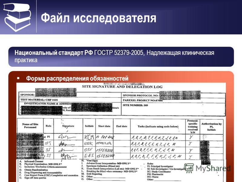 Файл исследователя Национальный стандарт РФ ГОСТР 52379-2005, Надлежащая клиническая практика Форма распределения обязанностей