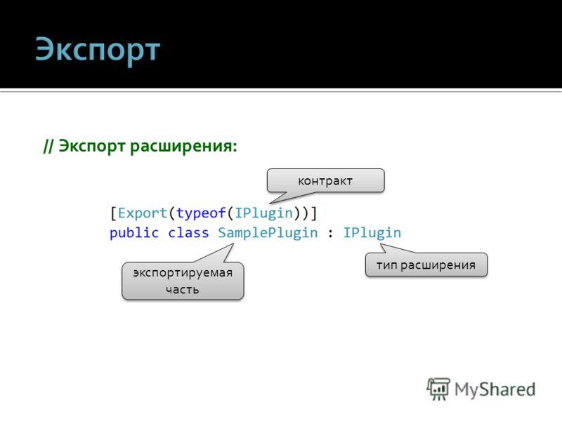 // Экспорт расширения: контракт экспортируемая часть тип расширения