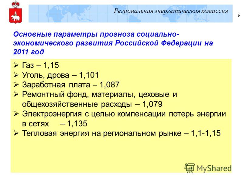 Региональная энергетическая комиссия 9 Основные параметры прогноза социально- экономического развития Российской Федерации на 2011 год Газ – 1,15 Уголь, дрова – 1,101 Заработная плата – 1,087 Ремонтный фонд, материалы, цеховые и общехозяйственные рас