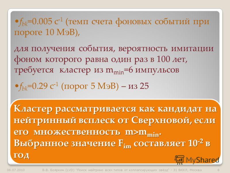 f bk =0.005 с -1 (темп счета фоновых событий при пороге 10 МэВ), для получения события, вероятность имитации фоном которого равна один раз в 100 лет, требуется кластер из m min =6 импульсов f bk =0.29 с -1 (порог 5 МэВ) – из 25 Кластер рассматриваетс