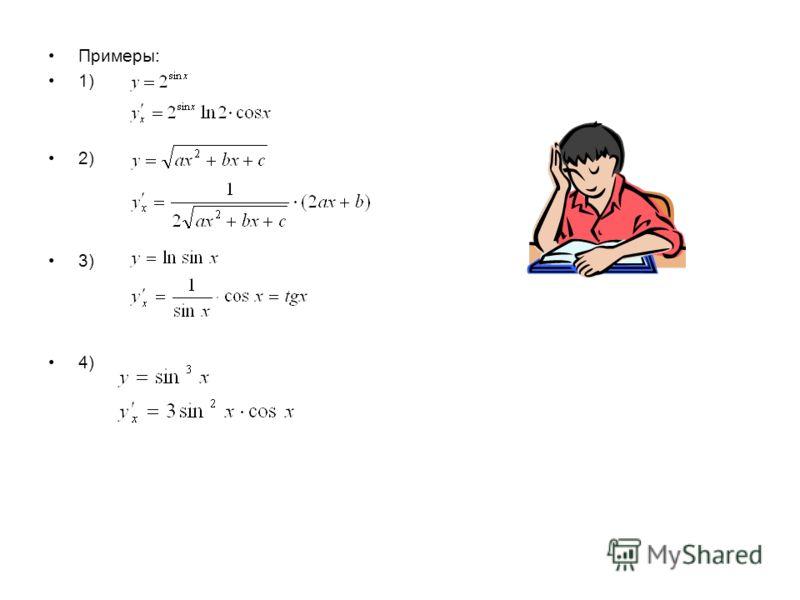 Придадим аргументу x приращение h, тогда величина u получит некоторое приращение, а после этого и величина y получит некоторое свое приращение. По определению производной. Но Поэтому Но и. Поэтому Значит, Таким образом, производная сложной функции по