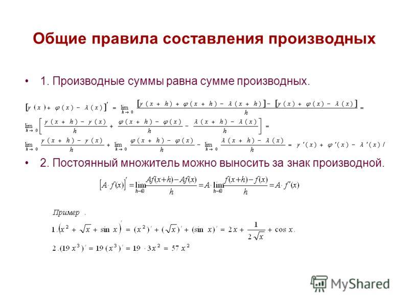 Производной от данной функции называется предел отношения приращения этой функции к приращению аргумента при условии, что приращение аргумента стремится к нулю. Примеры: Операция нахождения производной от функции называется дифференцированием этой фу