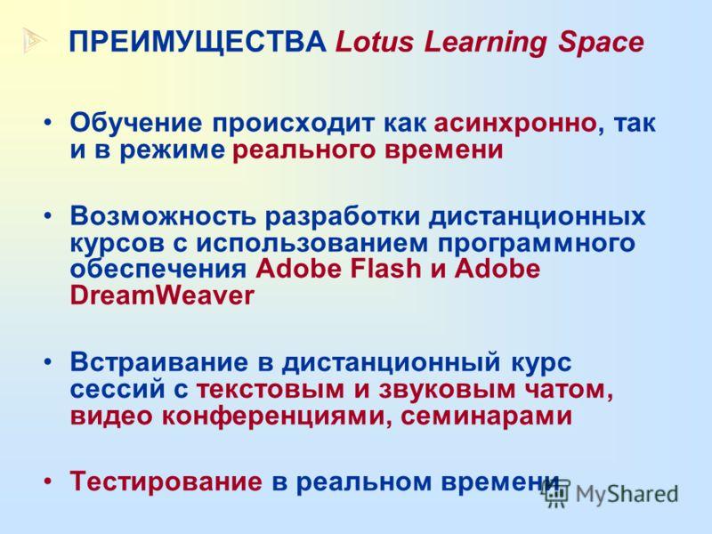 УПРАВЛЕНИЕ УЧЕБНЫМ ПРОЦЕССОМ в Lotus Learning Space 5 (Lotus/IBM ) УПРОЩЕННАЯ АРХИТЕКТУРА ВИДЫ УЧЕБНЫХ ЗАНЯТИЙ