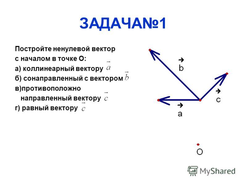 ЗАДАЧА1 Постройте ненулевой вектор с началом в точке О: а) коллинеарный вектору б) сонаправленный с вектором в)противоположно направленный вектору г) равный вектору