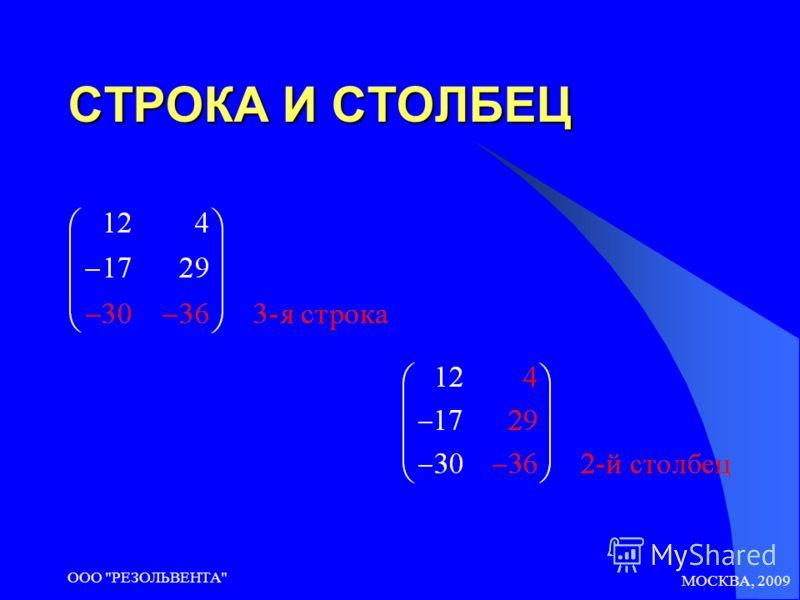 МОСКВА, 2009 ООО РЕЗОЛЬВЕНТА СТРОКА И СТОЛБЕЦ
