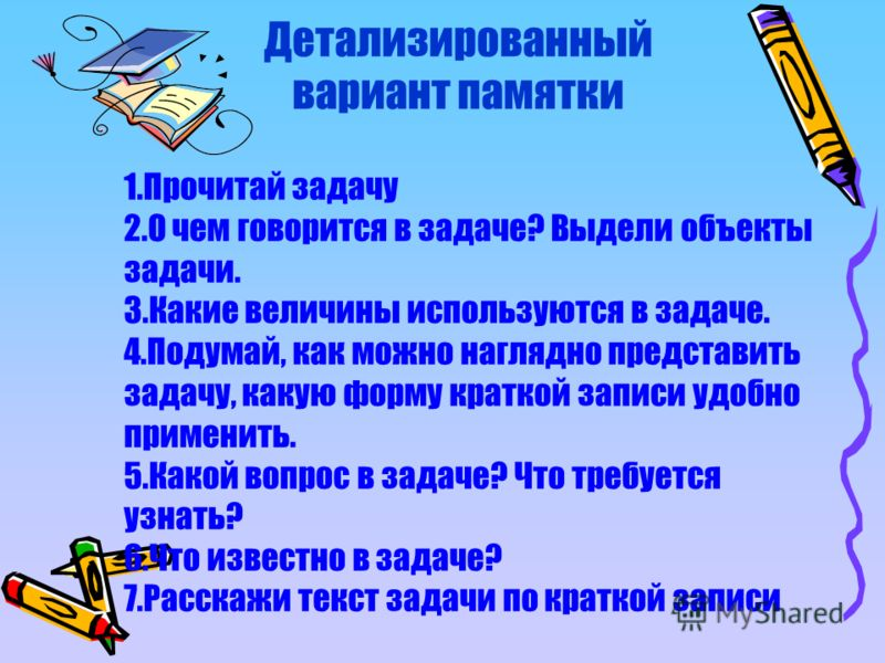 1.Прочитай задачу 2.О чем говорится в задаче? Выдели объекты задачи. 3.Какие величины используются в задаче. 4.Подумай, как можно наглядно представить задачу, какую форму краткой записи удобно применить. 5.Какой вопрос в задаче? Что требуется узнать?