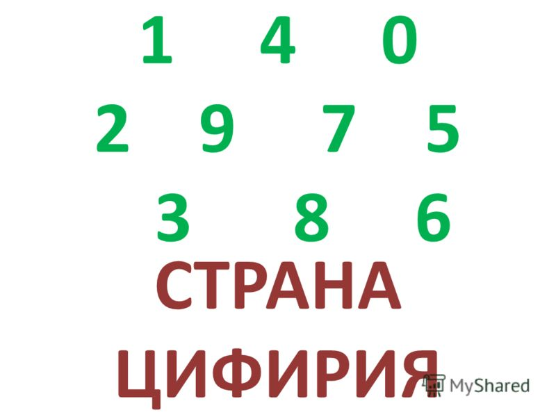 1 4 0 2 9 7 5 3 8 6 СТРАНА ЦИФИРИЯ