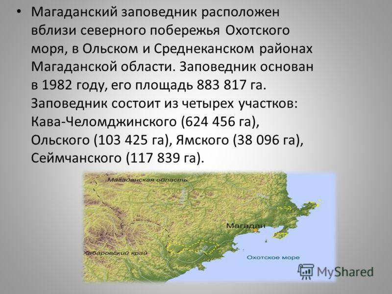 Магаданский заповедник расположен вблизи северного побережья Охотского моря, в Ольском и Среднеканском районах Магаданской области. Заповедник основан в 1982 году, его площадь 883 817 га. Заповедник состоит из четырех участков: Кава-Челомджинского (6