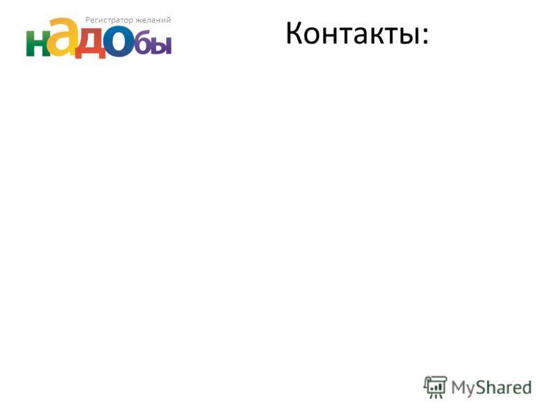 Регистратор желаний Контакты: