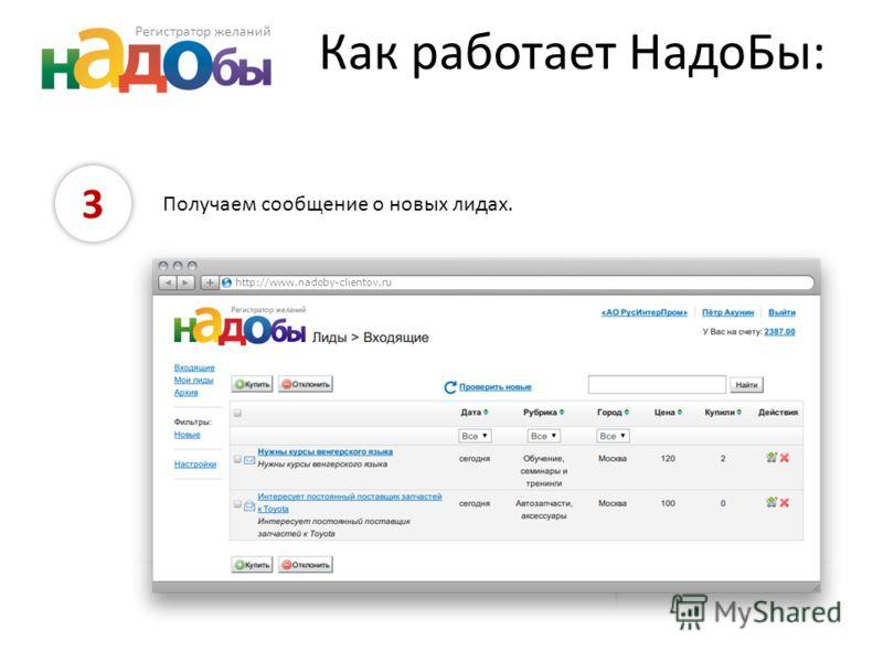 Как работает НадоБы: 3 Получаем сообщение о новых лидах. http://www.nadoby-clientov.ru Регистратор желаний