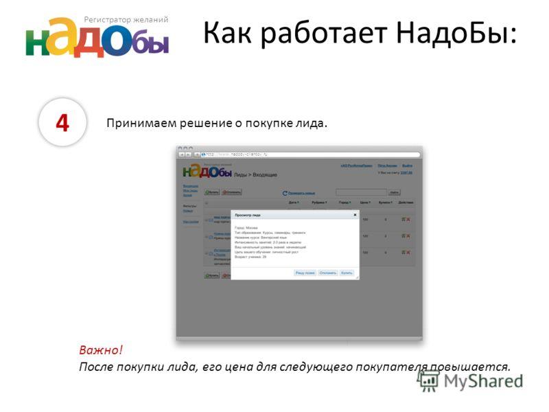 Как работает НадоБы: 4 Принимаем решение о покупке лида. Важно! После покупки лида, его цена для следующего покупателя повышается. http://www.nadoby-clientov.ru Регистратор желаний