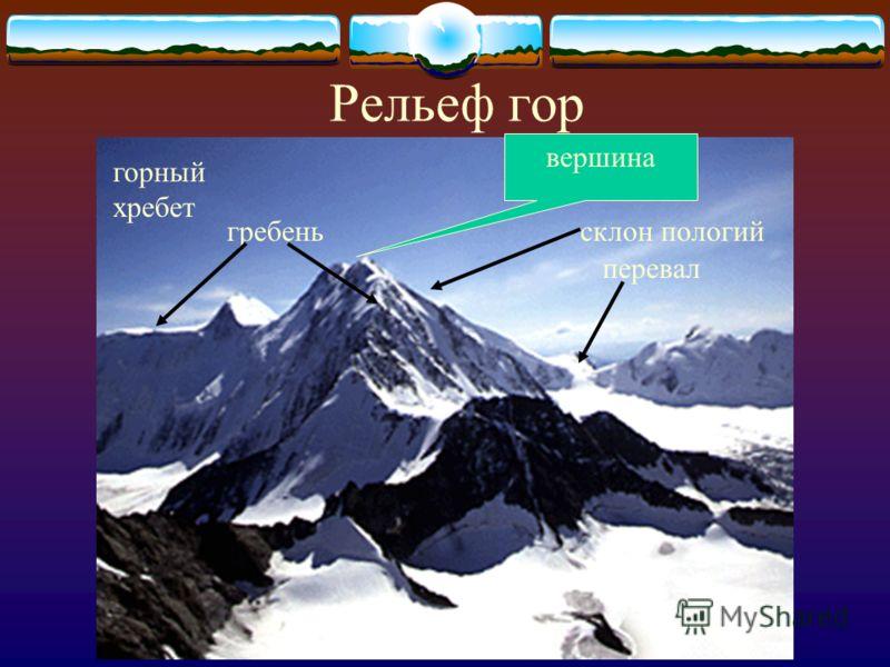 Рельеф гор вершина горный хребет