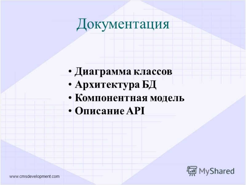 www.cmsdevelopment.com Документация Диаграмма классов Архитектура БД Компонентная модель Описание API