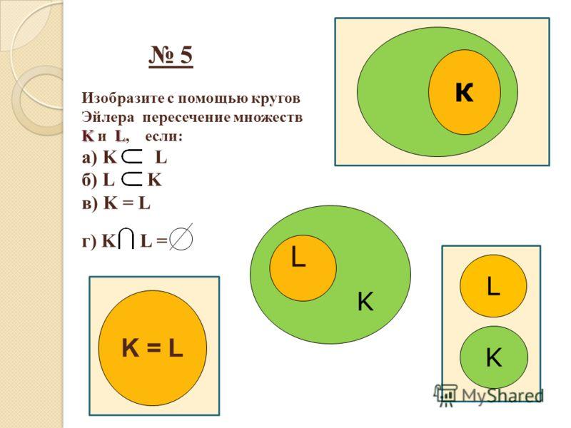 5 Изобразите с помощью кругов Эйлера пересечение множеств KL K и L, если: а) K L б) L K в) K = L г) K L = К K = L L K L K