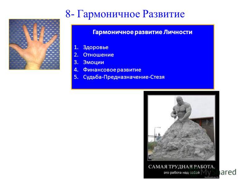 8- Гармоничное Развитие Гармоничное развитие Личности 1.Здоровье 2.Отношение 3.Эмоции 4.Финансовое развитие 5.Судьба-Предназначение-Стезя