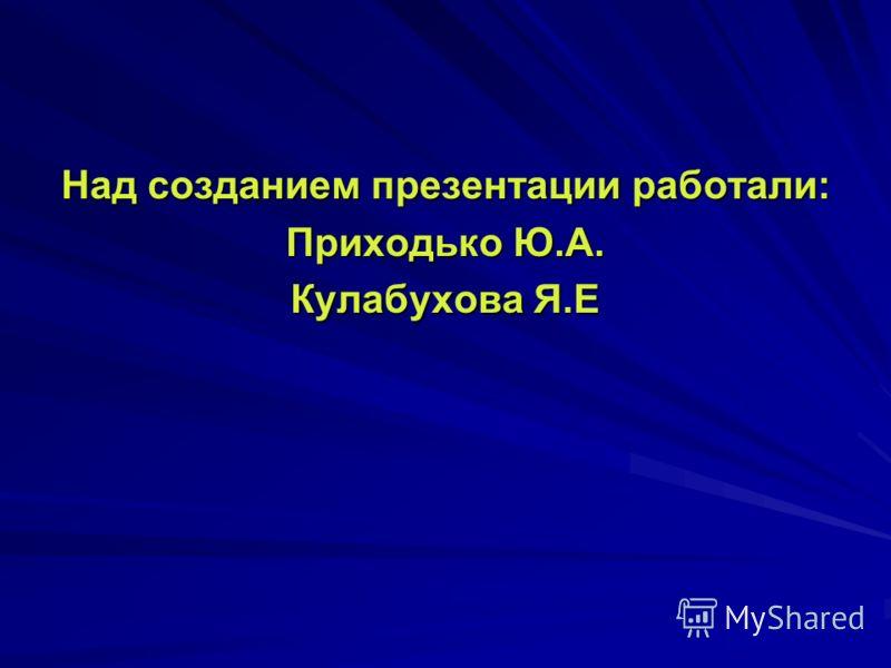 Над созданием презентации работали: Приходько Ю.А. Кулабухова Я.Е
