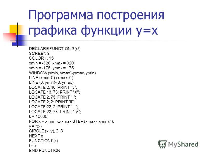 Программа построения графика функции y=x DECLARE FUNCTION f! (x!) SCREEN 9 COLOR 1, 15 xmin = -320: xmax = 320 ymin = -175: ymax = 175 WINDOW (xmin, ymax)-(xmax, ymin) LINE (xmin, 0)-(xmax, 0) LINE (0, ymin)-(0, ymax) LOCATE 2, 40: PRINT