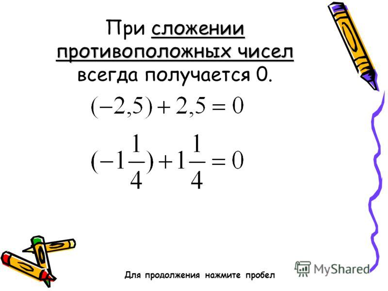 сложении противоположных чисел При сложении противоположных чисел всегда получается 0. Для продолжения нажмите пробел