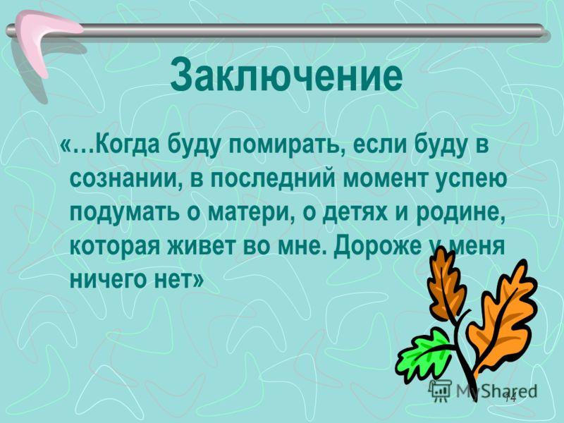 14 Заключение «…Когда буду помирать, если буду в сознании, в последний момент успею подумать о матери, о детях и родине, которая живет во мне. Дороже у меня ничего нет»