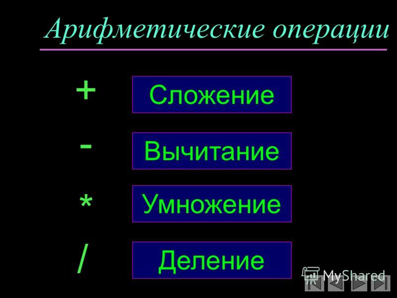 Арифметические операции Сложение + - * / Вычитание Деление Умножение