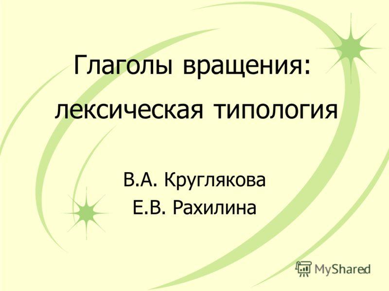 Глаголы вращения: лексическая типология В.А. Круглякова Е.В. Рахилина 1