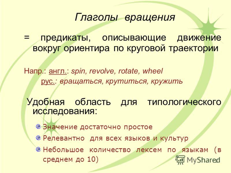 Глаголы вращения = предикаты, описывающие движение вокруг ориентира по круговой траектории Напр.: англ.: spin, revolve, rotate, wheel рус.: вращаться, крутиться, кружить Удобная область для типологического исследования: Значение достаточно простое Ре