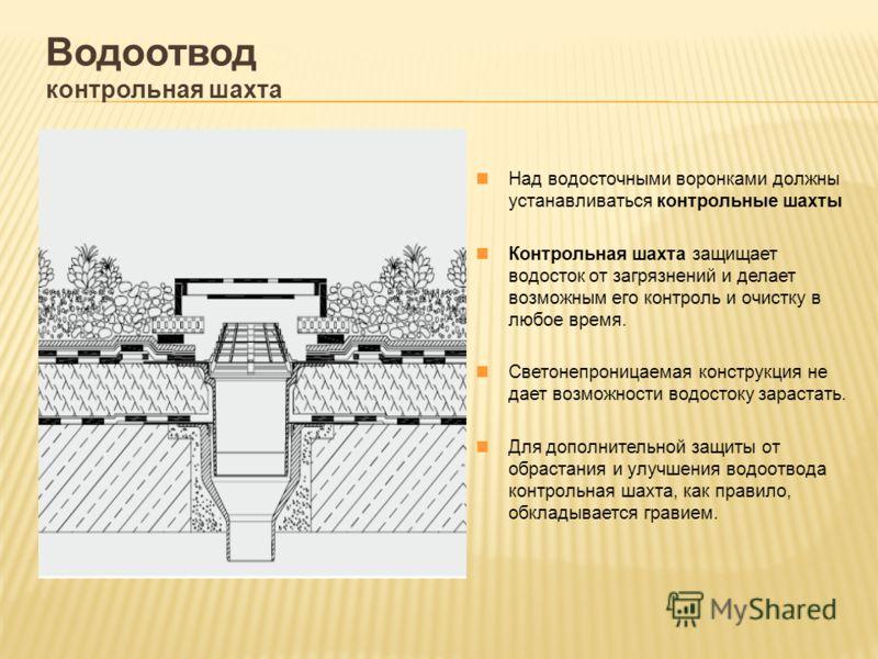 Водоотвод контрольная шахта Над водосточными воронками должны устанавливаться контрольные шахты Контрольная шахта защищает водосток от загрязнений и делает возможным его контроль и очистку в любое время. Светонепроницаемая конструкция не дает возможн