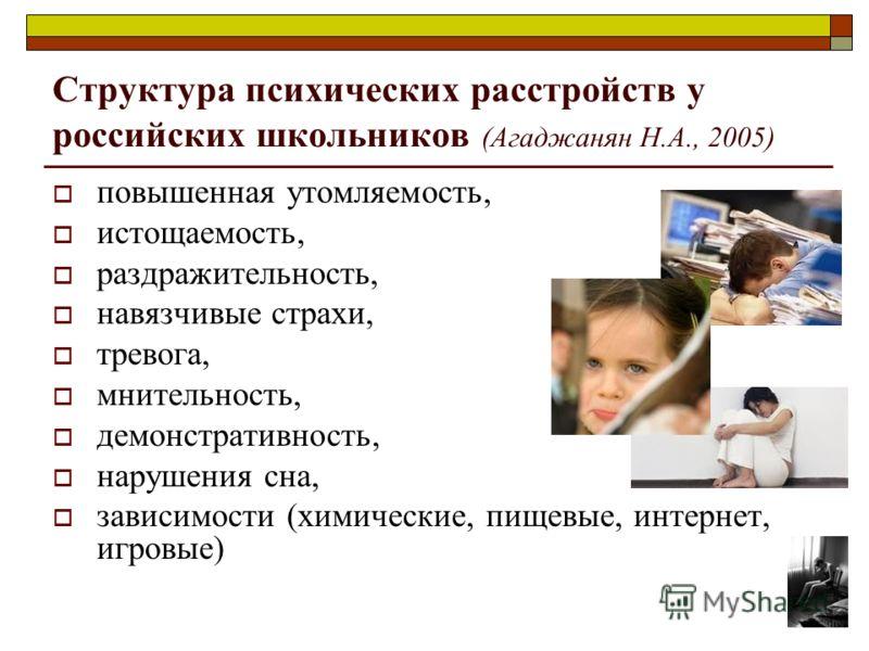 Структура психических расстройств у российских школьников (Агаджанян Н.А., 2005) повышенная утомляемость, истощаемость, раздражительность, навязчивые страхи, тревога, мнительность, демонстративность, нарушения сна, зависимости (химические, пищевые, и