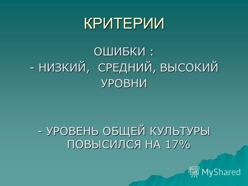 КРИТЕРИИ ОШИБКИ : - НИЗКИЙ, СРЕДНИЙ, ВЫСОКИЙ УРОВНИ - УРОВЕНЬ ОБЩЕЙ КУЛЬТУРЫ ПОВЫСИЛСЯ НА 17%