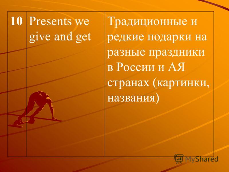 10Presents we give and get Традиционные и редкие подарки на разные праздники в России и АЯ странах (картинки, названия)