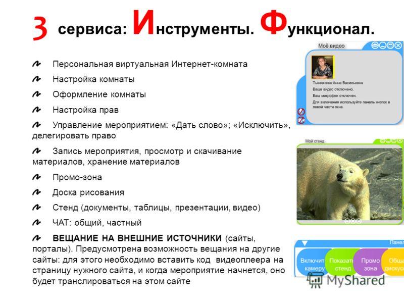 Персональная виртуальная Интернет-комната Настройка комнаты Оформление комнаты Настройка прав Управление мероприятием: «Дать слово»; «Исключить», делегировать право Запись мероприятия, просмотр и скачивание материалов, хранение материалов Промо-зона