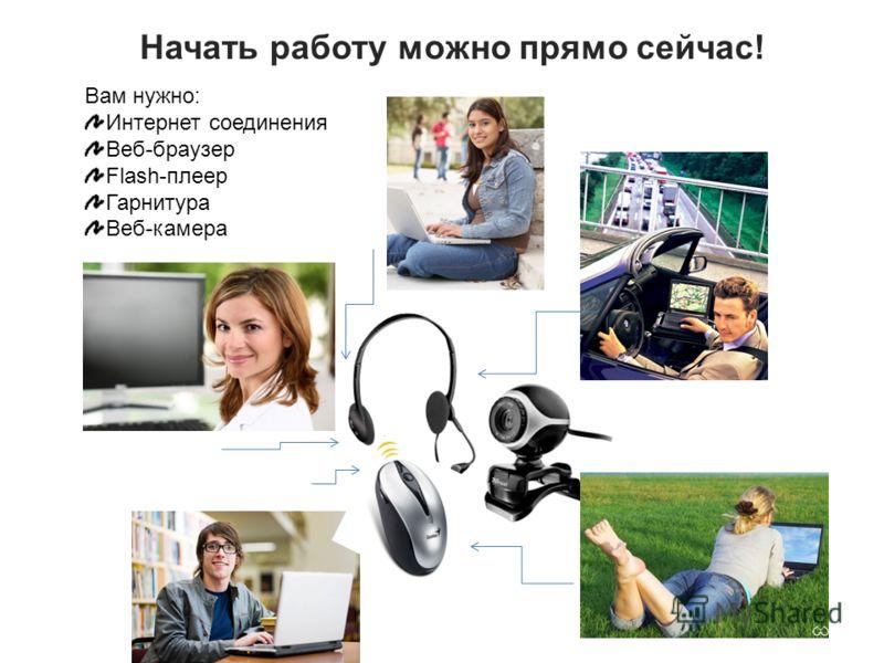Начать работу можно прямо сейчас! Вам нужно: Интернет соединения Веб-браузер Flash-плеер Гарнитура Веб-камера