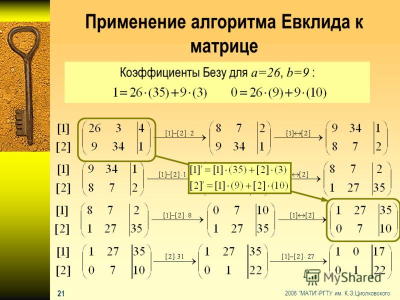 2006 МАТИ-РГТУ им. К.Э.Циолковского 20 Матрицы над кольцом строчно эквивалентной матрице Опр.2 Матрица называется строчно эквивалентной матрице если она может быть получена из A с помощью конечной последовательности элементарных преобразований строк.