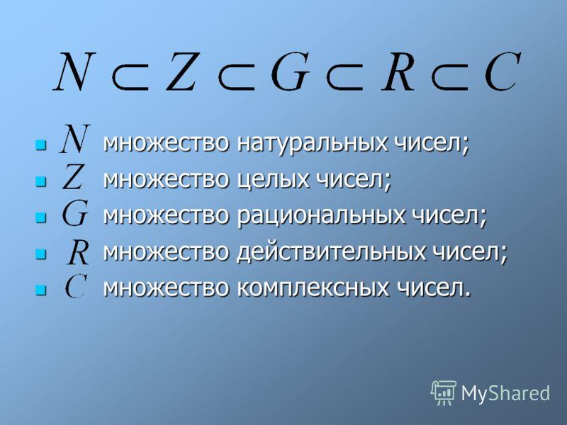 множество натуральных чисел; множество натуральных чисел; множество целых чисел; множество целых чисел; множество рациональных чисел; множество рациональных чисел; множество действительных чисел; множество действительных чисел; множество комплексных